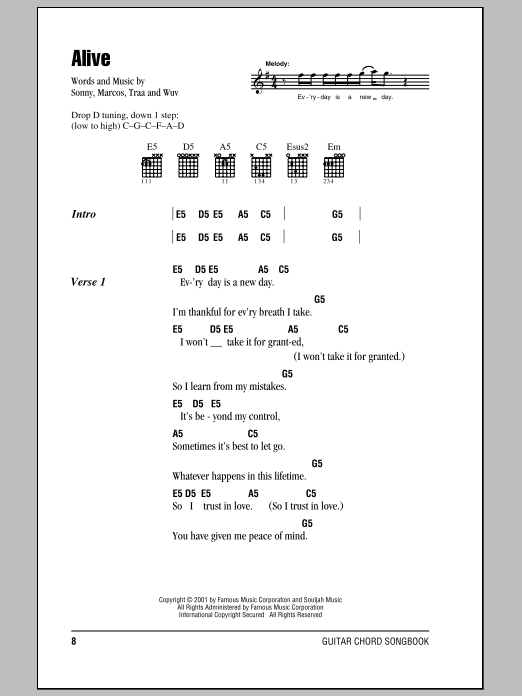 Alive sheet music for guitar solo (chords, lyrics, melody) by Wuv