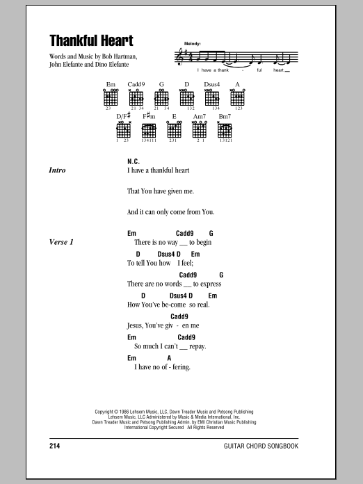 Thankful Heart sheet music for guitar solo (chords, lyrics, melody) by John Elefante