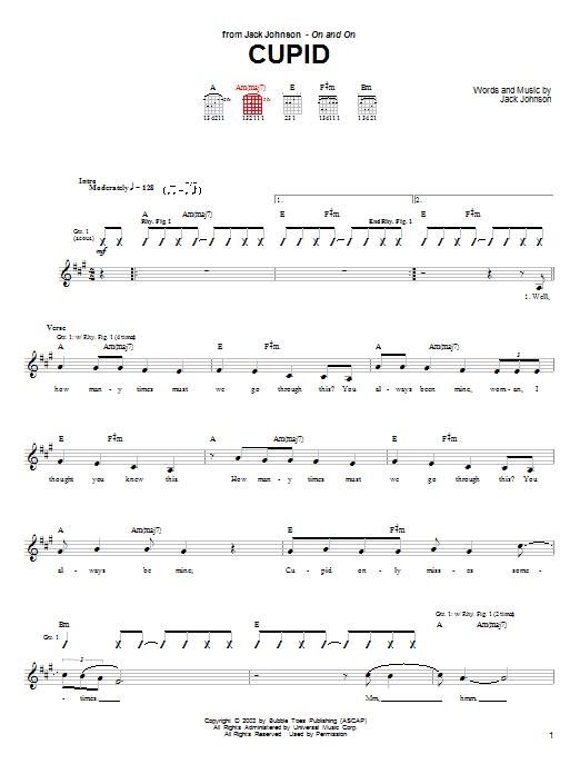Tablature guitare Cupid de Jack Johnson - Tablature Guitare