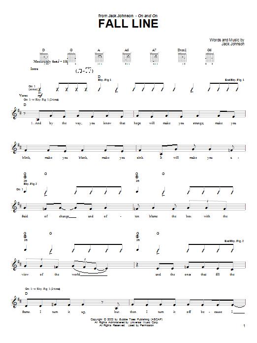 Tablature guitare Fall Line de Jack Johnson - Tablature Guitare