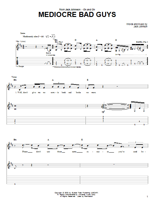 Tablature guitare Mediocre Bad Guys de Jack Johnson - Tablature Guitare