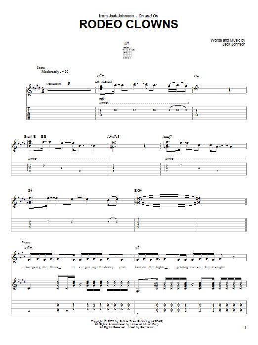 Tablature guitare Rodeo Clowns de Jack Johnson - Tablature Guitare