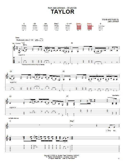Tablature guitare Taylor de Jack Johnson - Tablature Guitare