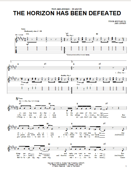 Tablature guitare The Horizon Has Been Defeated de Jack Johnson - Tablature Guitare