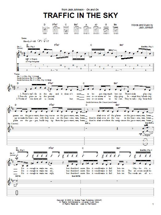 Tablature guitare Traffic In The Sky de Jack Johnson - Tablature Guitare