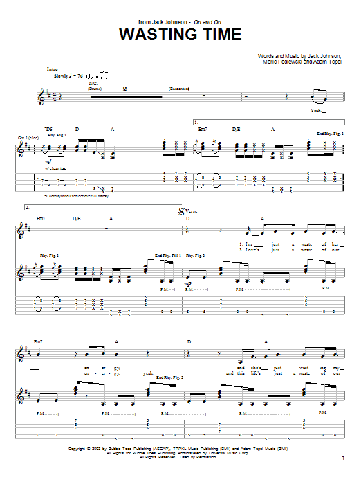 Tablature guitare Wasting Time de Jack Johnson - Tablature Guitare