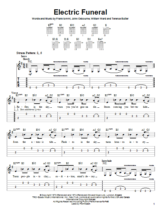 Tablature guitare Electric Funeral de Black Sabbath - Tablature guitare facile