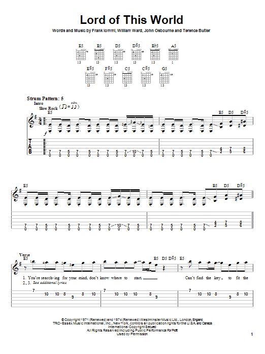 Tablature guitare Lord Of This World de Black Sabbath - Tablature guitare facile