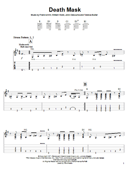Tablature guitare Death Mask de Black Sabbath - Tablature guitare facile