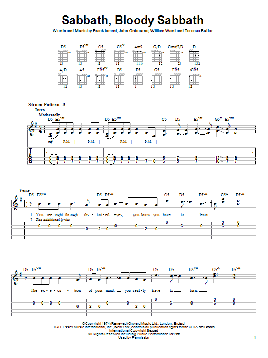 Tablature guitare Sabbath, Bloody Sabbath de Black Sabbath - Tablature guitare facile