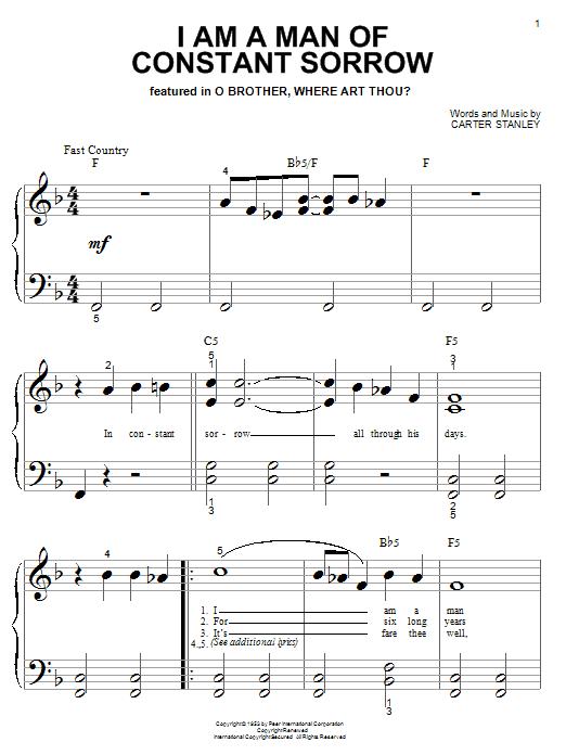 Partition piano I Am A Man Of Constant Sorrow de The Soggy Bottom Boys - Piano Facile