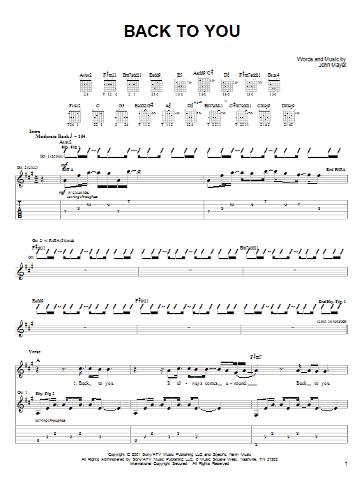Tablature guitare Back To You de John Mayer - Tablature guitare facile