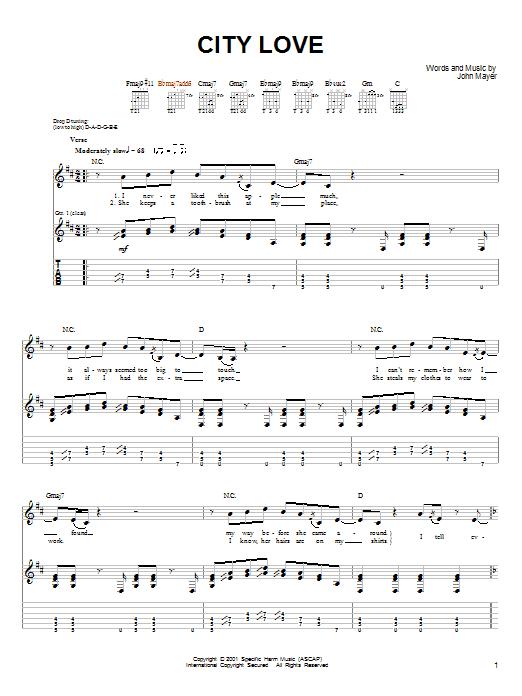 Tablature guitare City Love de John Mayer - Tablature guitare facile
