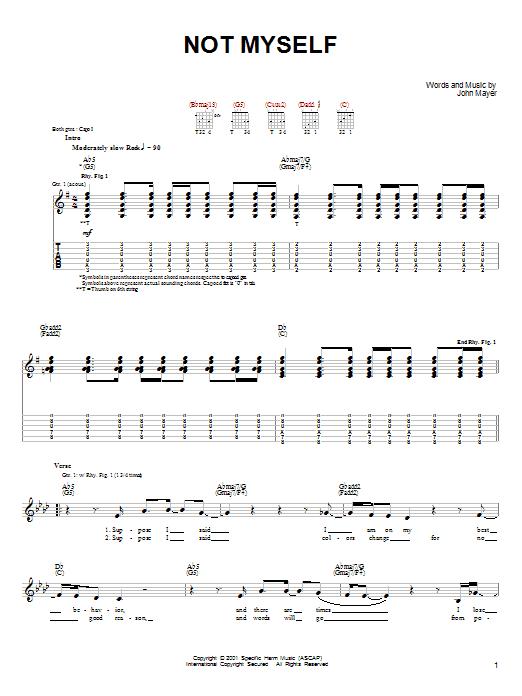 Tablature guitare Not Myself de John Mayer - Tablature guitare facile