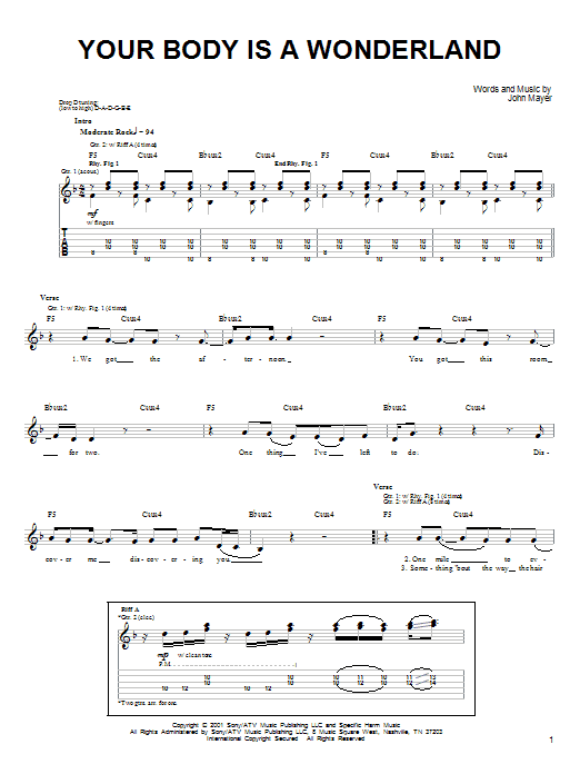 Tablature guitare Your Body Is A Wonderland de John Mayer - Tablature guitare facile