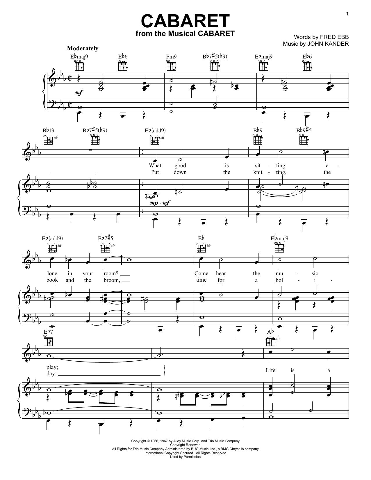 Partition piano Cabaret de Louis Armstrong - Piano Voix Guitare (Mélodie Main Droite)