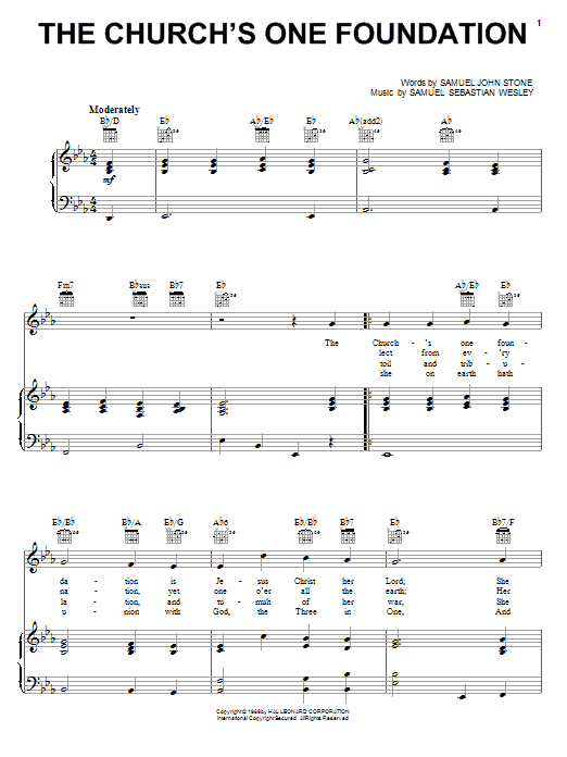 The Church's One Foundation sheet music for voice, piano or guitar by Samuel Sebastian Wesley