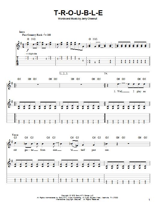 Tablature guitare T-R-O-U-B-L-E de Travis Tritt - Tablature Guitare