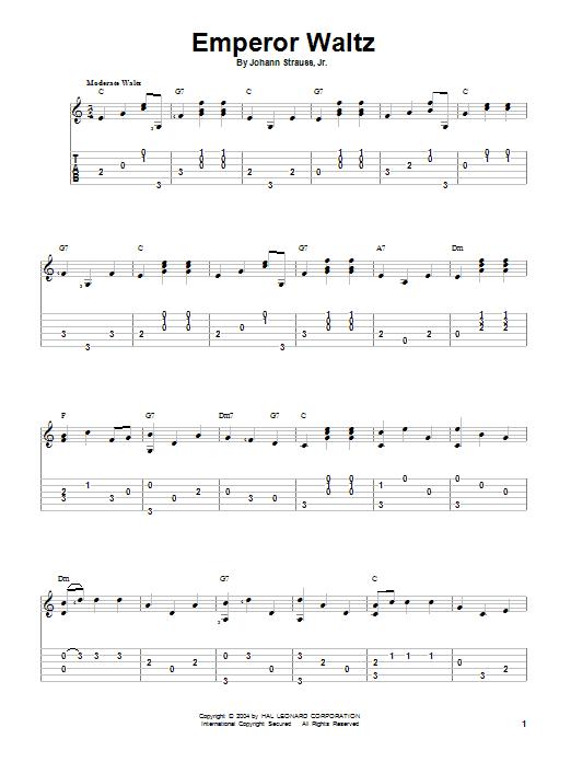 Tablature guitare Emperor Waltz de Johann Strauss, Jr. - Tablature Guitare