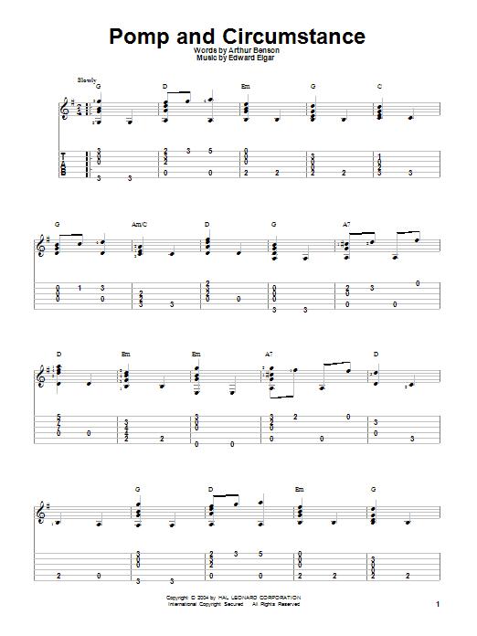 Tablature guitare Pomp And Circumstance de Edward Elgar - Tablature Guitare