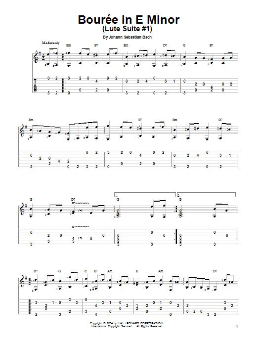 Tablature guitare Bourree de Johann Sebastian Bach - Tablature Guitare