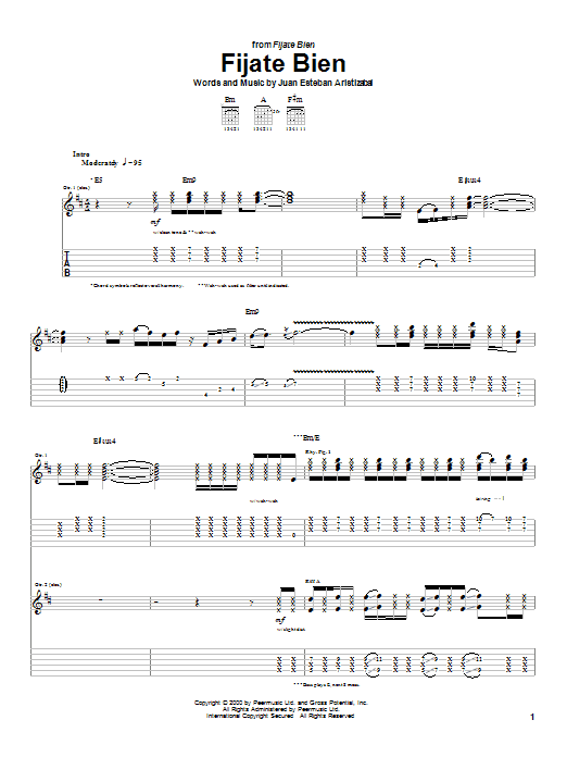 Tablature guitare Fijate Bien de Juanes - Tablature Guitare