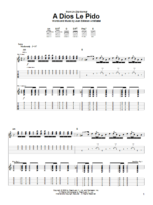 Tablature guitare A Dios Le Pido de Juanes - Tablature Guitare