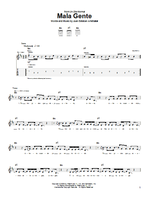 Tablature guitare Mala Gente de Juanes - Tablature Guitare