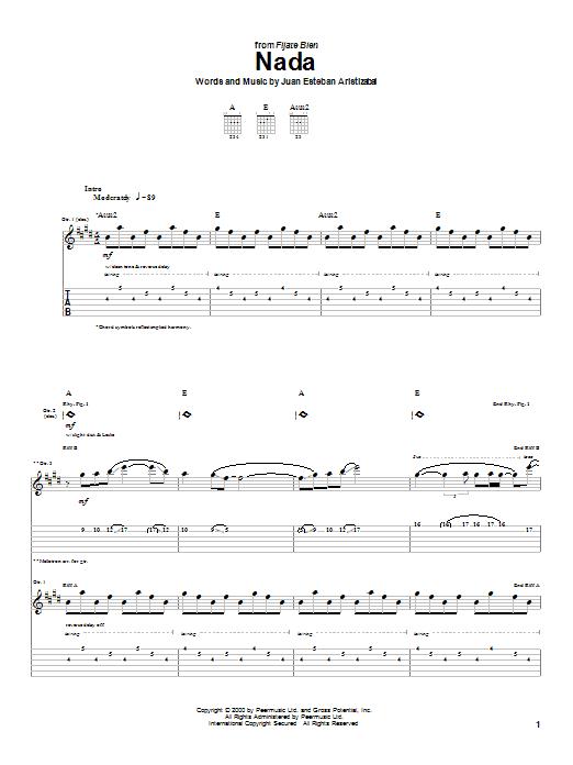Tablature guitare Nada de Juanes - Tablature Guitare