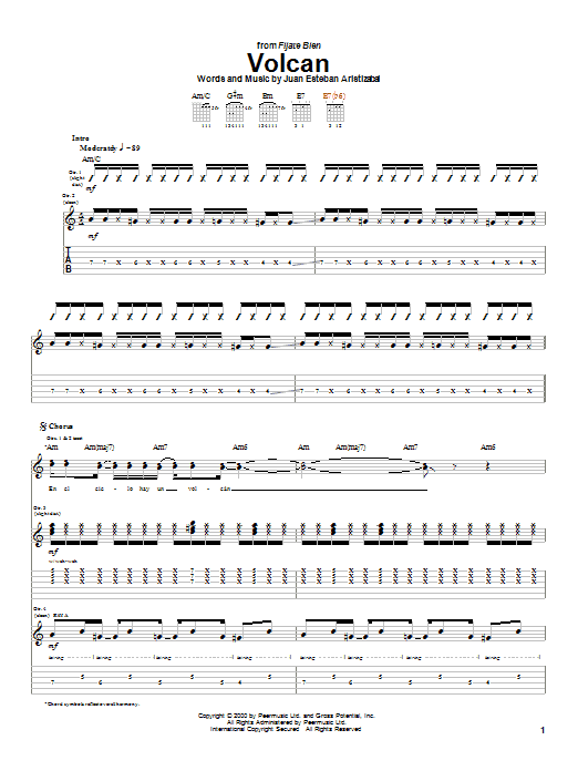 Tablature guitare Volcan de Juanes - Tablature Guitare