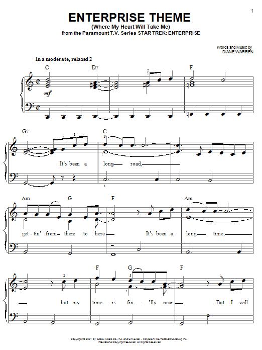Partition piano Enterprise Theme (Where My Heart Will Take Me) de Diane Warren - Piano Facile