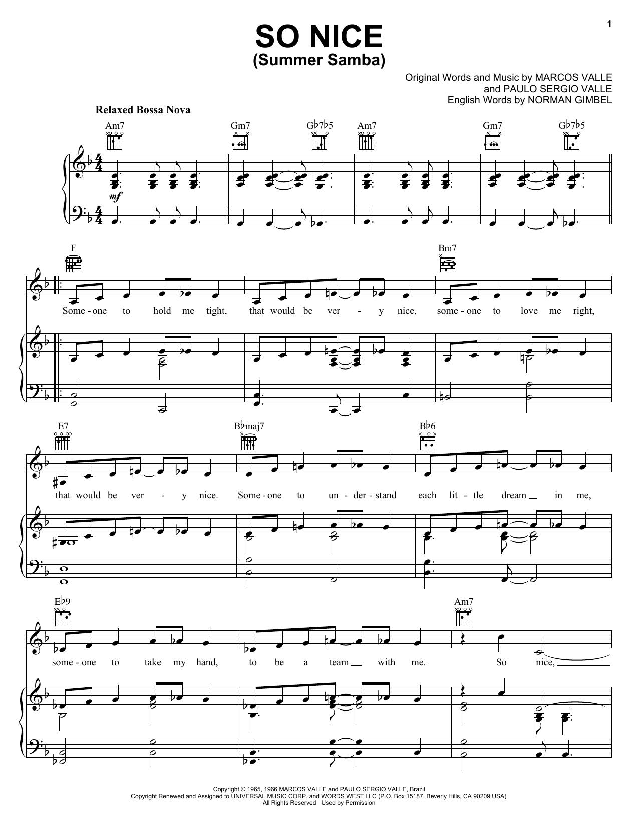 Partition piano So Nice (Summer Samba) de Astrud Gilberto - Piano Voix Guitare (Mélodie Main Droite)