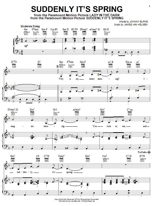Partition piano Suddenly It's Spring de Frank Sinatra - Piano Voix Guitare (Mélodie Main Droite)