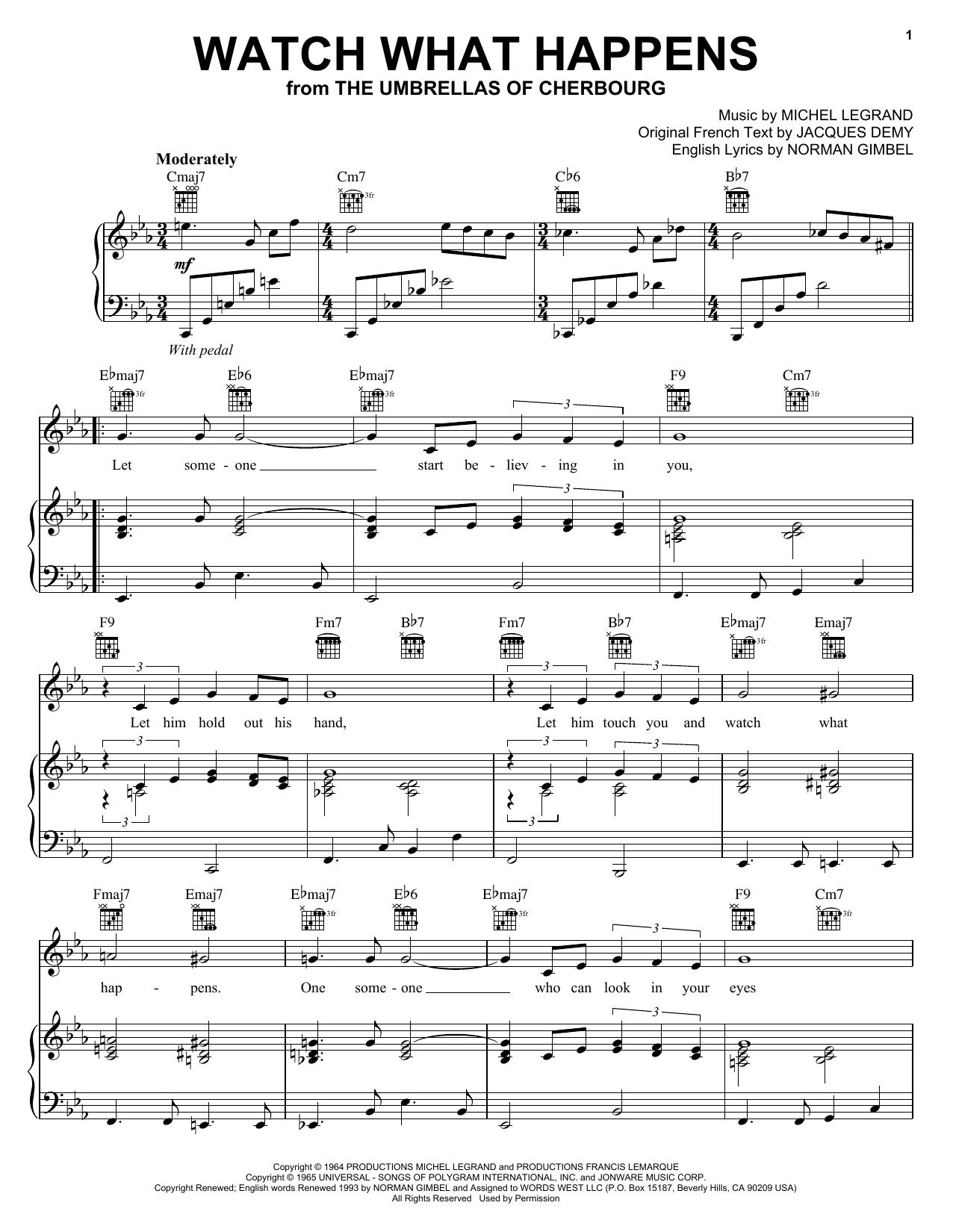 Partition piano Watch What Happens de Peggy Lee - Piano Voix Guitare (Mélodie Main Droite)