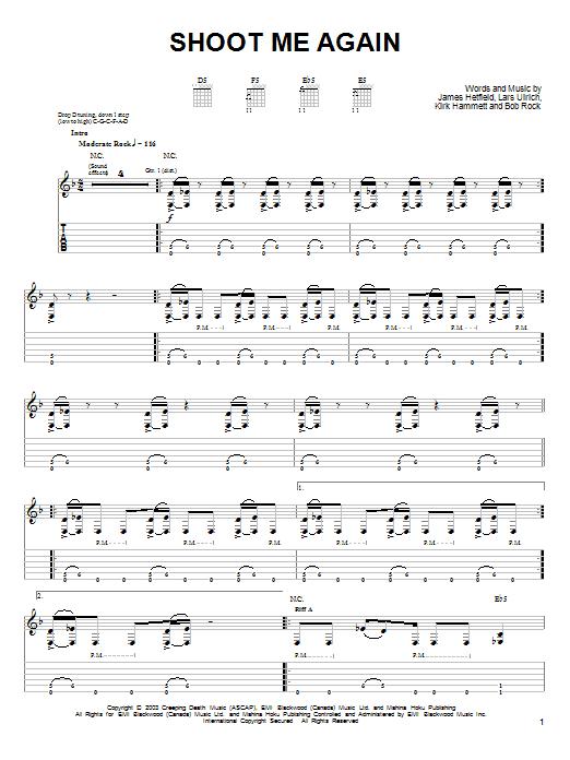 Tablature guitare Shoot Me Again de Metallica - Tablature guitare facile
