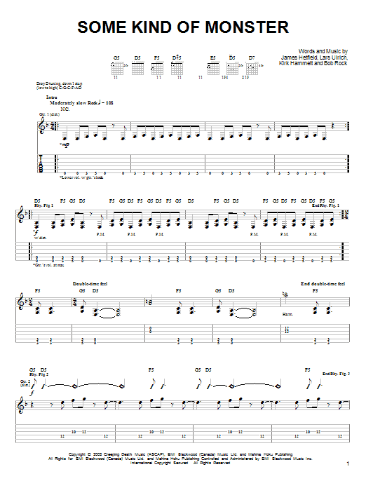 Tablature guitare Some Kind Of Monster de Metallica - Tablature guitare facile