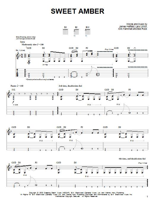 Tablature guitare Sweet Amber de Metallica - Tablature guitare facile