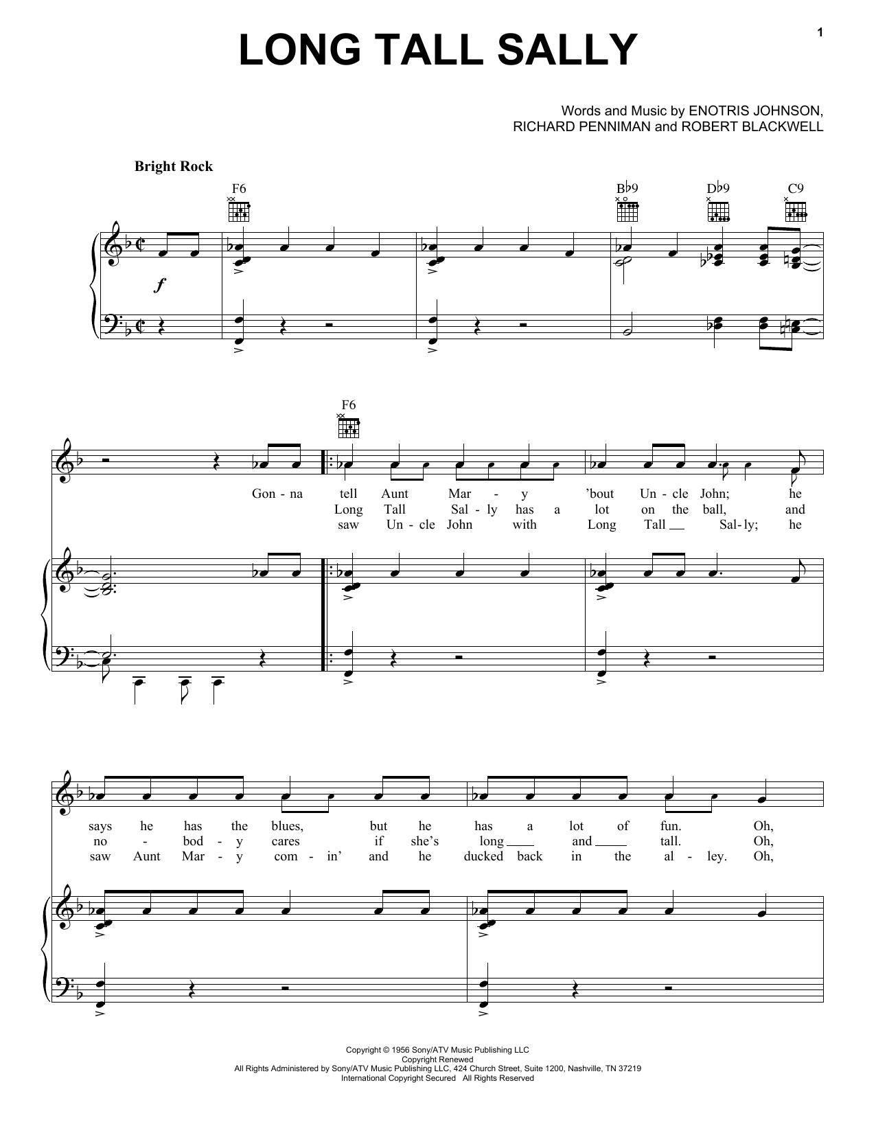Partition piano Long Tall Sally de Little Richard - Piano Voix Guitare (Mélodie Main Droite)