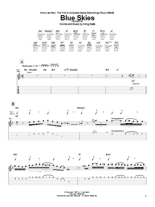 Tablature guitare Blue Skies de Les Paul - Tablature Guitare