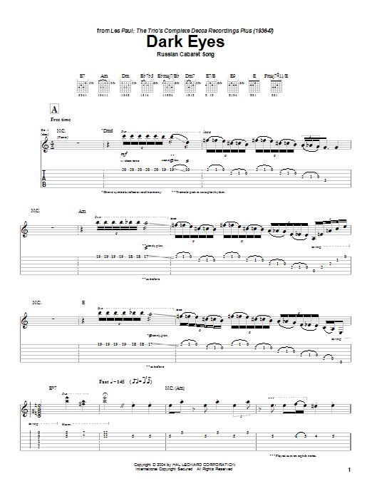 Tablature guitare Dark Eyes de Les Paul - Tablature Guitare