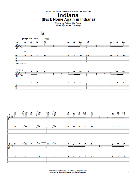 Indiana (Back Home Again In Indiana) sheet music for guitar solo (tablature) by James Hanley