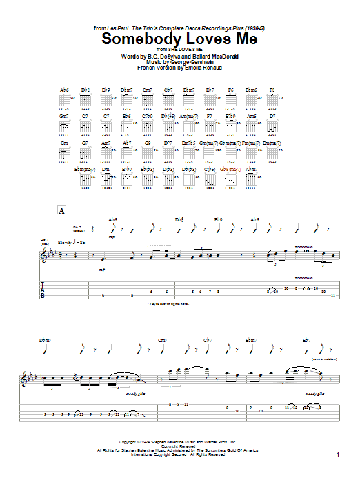 Tablature guitare Somebody Loves Me de Les Paul - Tablature Guitare