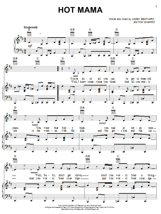 Hot Mama sheet music for voice, piano or guitar by Tom Shapiro