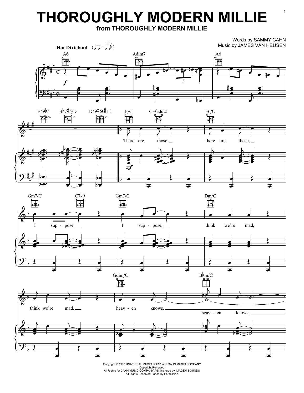 Partition piano Thoroughly Modern Millie de Sammy Cahn - Piano Voix Guitare (Mélodie Main Droite)