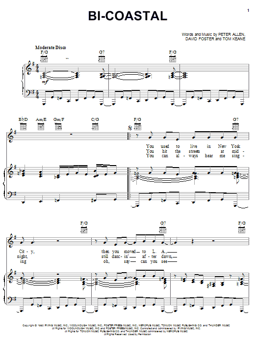 Bi-Coastal sheet music for voice, piano or guitar by Tom Keane