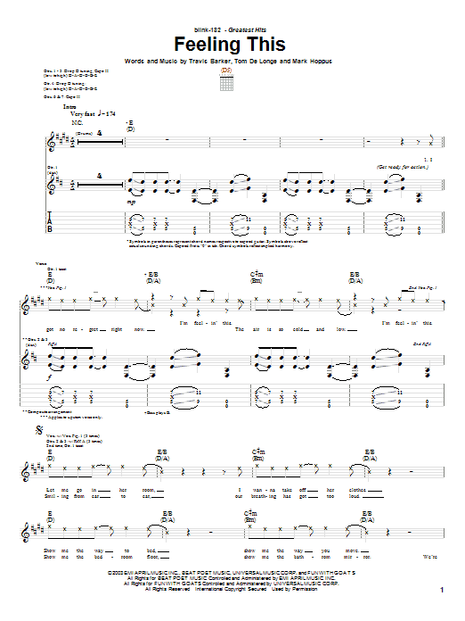 Tablature guitare Feeling This de Blink-182 - Tablature Guitare