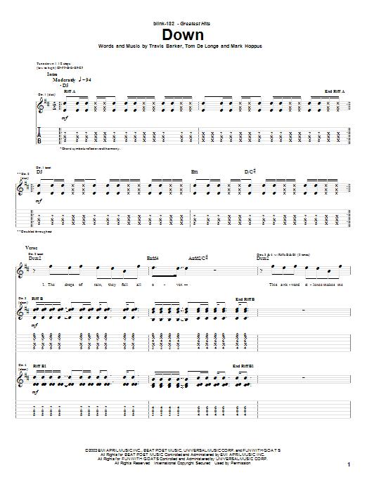 Tablature guitare Down de Blink-182 - Tablature Guitare