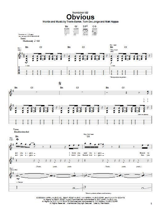 Tablature guitare Obvious de Blink-182 - Tablature Guitare