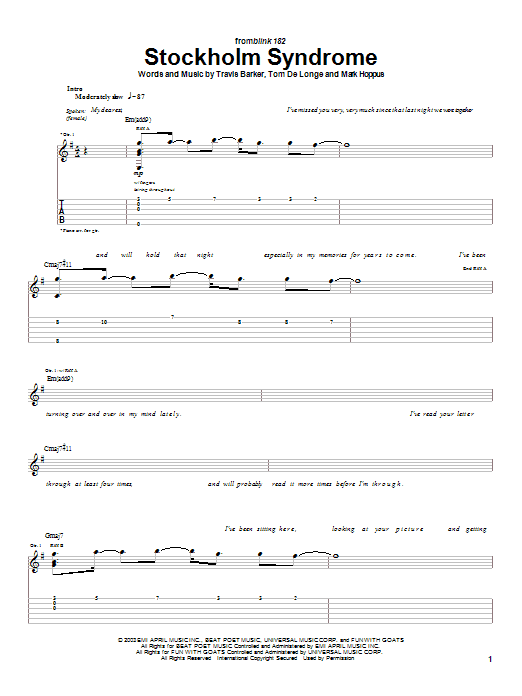 Tablature guitare Stockholm Syndrome de Blink-182 - Tablature Guitare