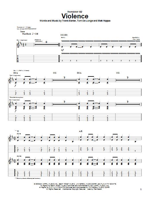 Tablature guitare Violence de Blink-182 - Tablature Guitare